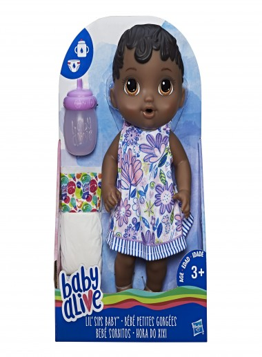 Baby Alive Lil' Sips Baby, Black Structured Hair Doll