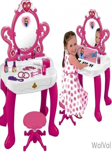 2-in-1 Vanity Set Girls Toy Makeup Accessories with Working Piano