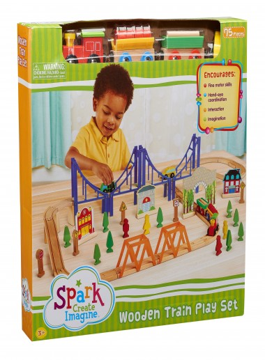 Wooden Train Play Set, 75 Pieces