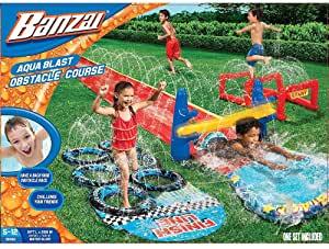 Aqua Blast Obstacle Course Slide (16'L Inflatable Backyard Aqua Water Park Fun)